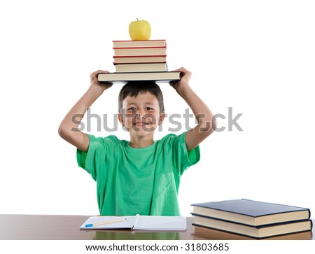 Adorable student boy on a over white background