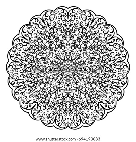 adult coloring book illustration lacy mandala pattern with calligraphic swirls and intricate tangled lacy ornament - Intricate Coloring Books