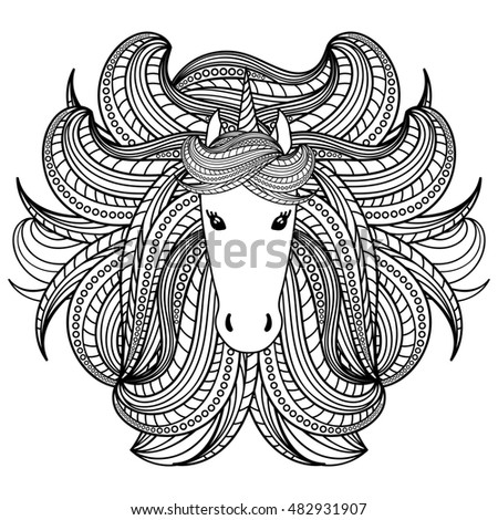 Vector Coloring Book Adult Silhouette Bull Stock Vector