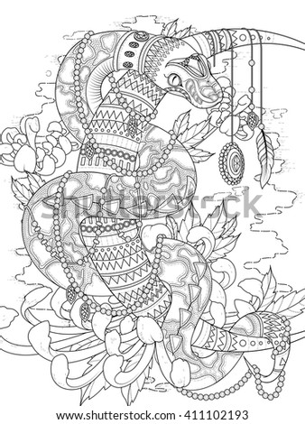 adult coloring page - mysterious snake with jewelries and higanbana