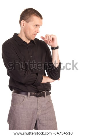 adult man posing on a white background