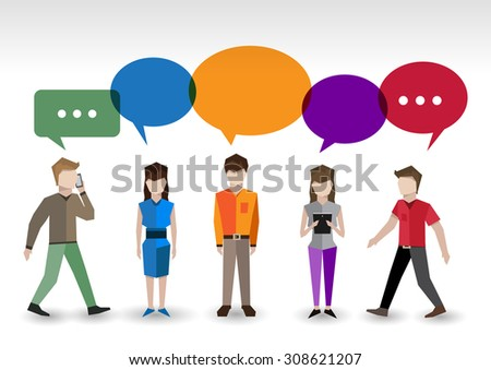 Adult pixel men and women avatars with speech bubbles people chat concept  illustration