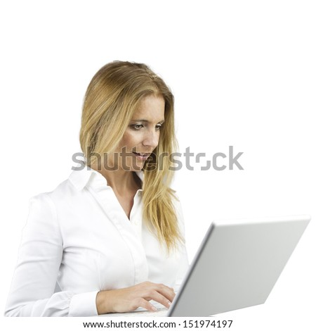 adult pretty woman with a computer