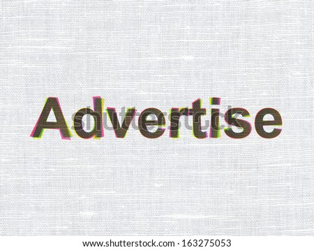 Advertising concept: CMYK Advertise on linen fabric texture background, 3d render