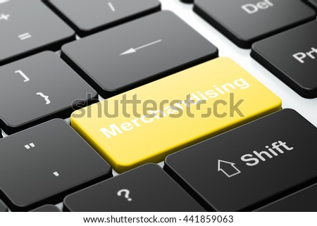 Advertising concept: computer keyboard with word Merchandising, selected focus on enter button background, 3D rendering