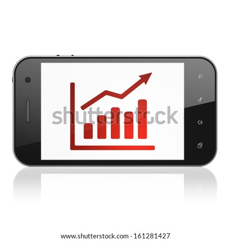 Advertising concept: smartphone with Growth Graph icon on display. Mobile smart phone on White background, cell phone 3d render