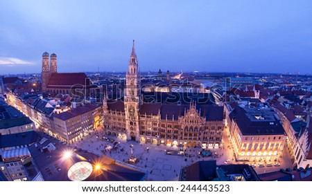 Aerial image of Marienplatz square in Munich, Germany.