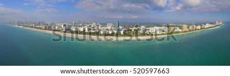 Aerial panorama of Miami Beach Florida