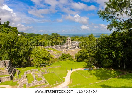 Aerial Panorama of Palenque archaeological site, a pre-Columbian Maya civilization of Mesoamerica. Known as Lakamha (Big Water). UNESCO World Heritage