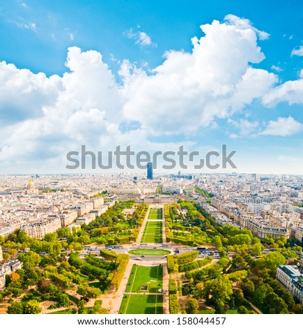 Aerial panoramic view of Paris and Seine river as seen from Eiffel Tower in Paris, France.
