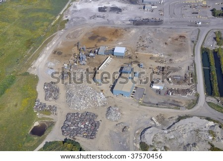aerial photo of a Auto recycling plant