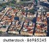 Aerial photo of historical center city Pilsen, Czech republic, European union. - stock photo