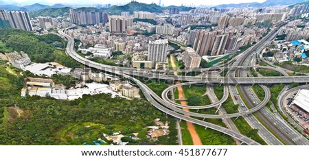 Aerial photography bird-eye view of City viaduct bridge road streetscape landscape of panorama