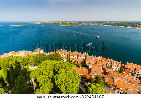 Aerial shoot of Old town Rovinj, Istria, Croatia.