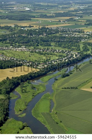 aerial view along the Grand River, Conestogo North,  Ontario Canada