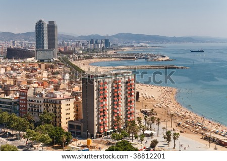 Aerial view at the beach of Barcelona, Spain.