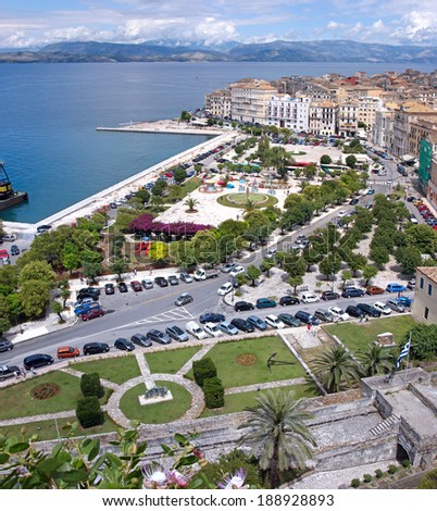 Aerial view of a square and a promenade in Kerkyra town, Corfu, Greece