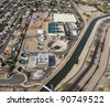 Aerial view of a water treatment plant - stock photo