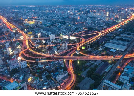 Aerial view of Bangkok city, Night scene with traffic light, Thailand