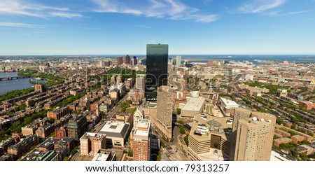 Aerial view of Boston in Massachusetts on a sunny summer day.