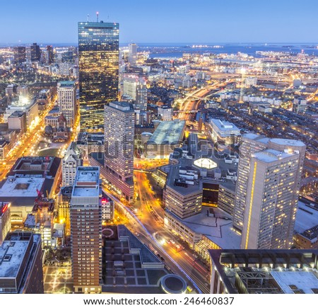 Aerial view of Boston in Massachusetts, USA at sunset.