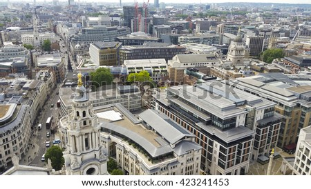 Aerial view of buildings in central London, England.