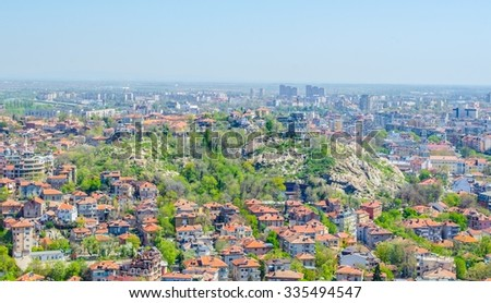 aerial view of bulgarian city plovdiv, which is famous for its old town and relics from ancient rome. because of its cultural heritage it became european capital of culture 2017.