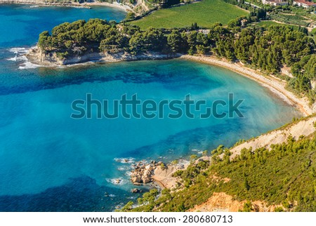 Aerial view of Cassis from the coastal path between Semaphore La Ciotat, Grande Tete and Cap Canaille, Bouches-du-Rhone, Provence, France.