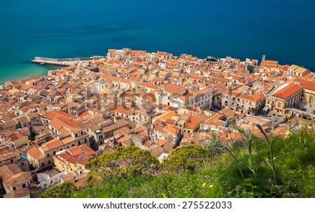 aerial view of Cefalu old town with its small residential houses, Sicily
