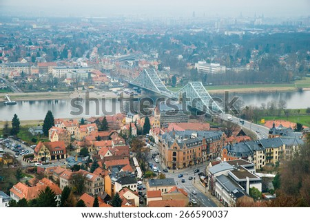 Aerial View Of City With Bridge Over River Elbe In Dresden; Germany