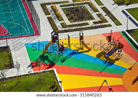 Aerial view of colorful playground for small kids
