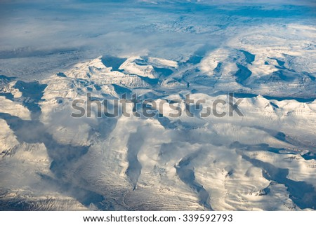 Aerial View of East Fjords Iceland