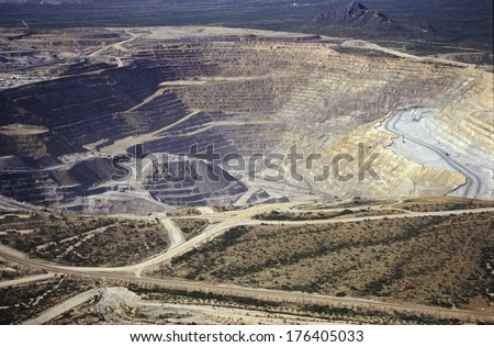 Aerial view of environmental damage caused by copper mining in Tucson, AZ