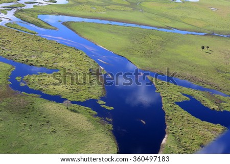 Aerial view of Fish Eating Creek in the Florida Everglades.