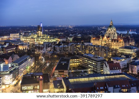Aerial view of Hannover at evening. Lower Saxony.