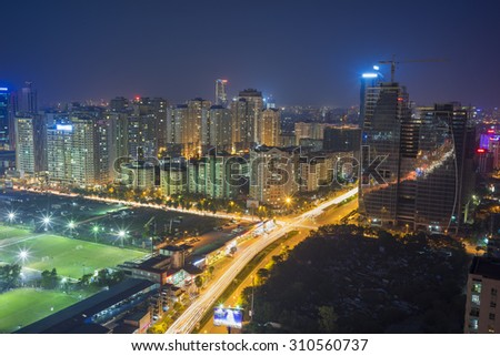Aerial view of Hanoi skyline cityscape at night. Le Van Luong street, Cau Giay district