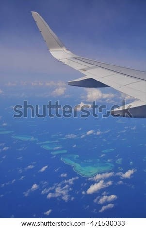 Aerial view of Maldives islands.