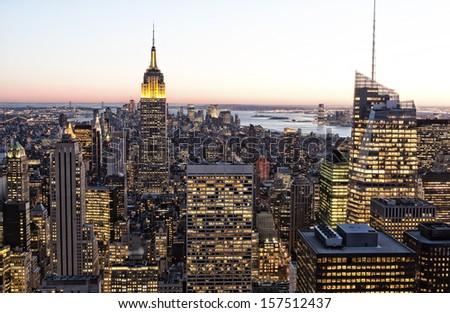Aerial view of Manhattan in New York city, USA.