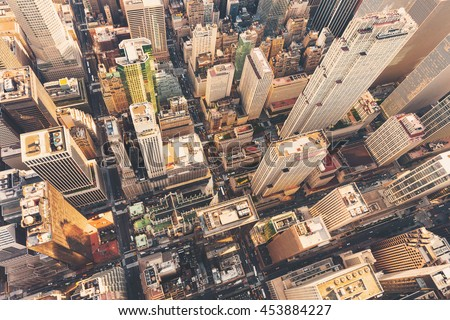 Aerial view of Midtown Manhattan at sunset with a view of St Patrick's Cathedral