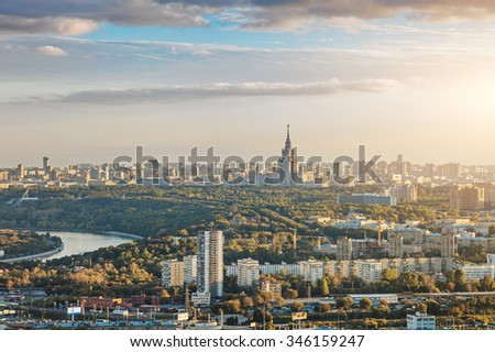 Aerial view of Moscow city with the Lomonosov State University of Moscow and the Moskva river