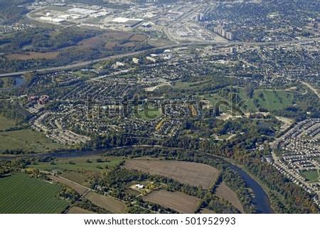 Aerial View Bridgeport District Kitchenerwaterloo Ontario Stock ...