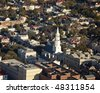 aerial view of old city of charleston south carolina - stock photo
