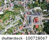 aerial view of Otmuchow city center - stock photo