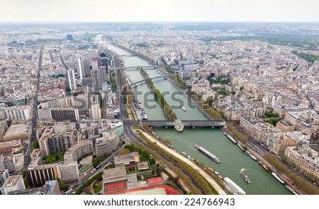 Aerial view of Paris from the Eiffel tower.