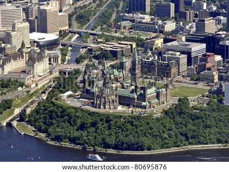 aerial view of Parliament Hill, Ottawa Ontario
