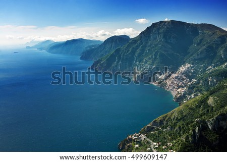 "Aerial view of Positano and the Amalfi Coast (in Campania, Italy) seen from the ""Cammino degli dei"" (Path of the Gods)."
