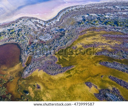 Aerial View of Salt Marsh at Pink Lake Inlet near Hutt Lagoon Western Australia