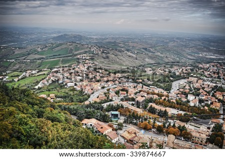 aerial view of San Marino seen from the funicular railway