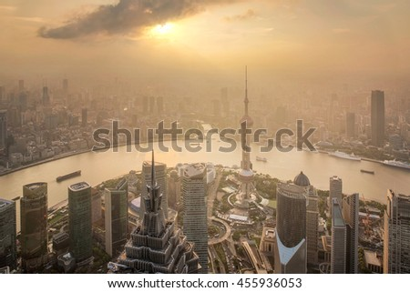 Aerial View of Shanghai Cityscape at sunset and  Night, shanghai lujiazui finance and trade zone skyline