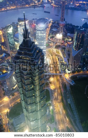 aerial view of Shanghai Lujiazui business center